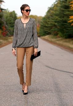 Pinned from elsewhere....but you could do a version of this CAbi style! Skin Print Wrap Top and Gold Ruby Jeans from Fall 1013!: Draped crossover blouse and cropped pants  |  Laura Wears...