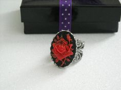 Red Rose Antique Silver Filigree Adjustable Ring by OctoberPetals