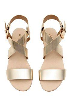Sandalias de tiras - Dorado - MUJER | H&M ES