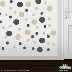 Dark Grey / Beige Polka Dot Circles Wall Decals #stickers #decals #decalvenue