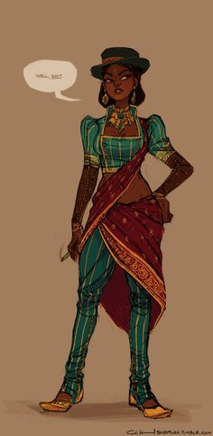 Claire Hummel's non-Western steampunk outfit brings Victorian elements to traditional Indian clothing.