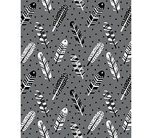 Feather geometric grey charcoal neutral modern pattern print dots geo scandinavian scandi pattern print Fotodruck