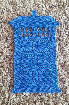 Swirling TARDIS Applique - free crochet pattern (includes a doily) by Erica Bennett.