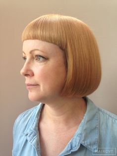 women redhead ginger bob fringe hairstyle