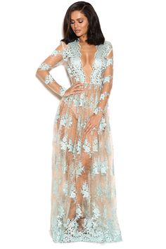 Clothing : Max Dresses : 'Claudia' Blue and Nude Lace Maxi dress