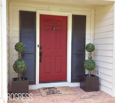 Exterior Red Door Posh Red by Valspar, Shutter are Fired Earth, also by Valspar. shutter lined front door Cottage Front Doors, Front Door Porch, House Doors, Front Door Decor, House Front, Door Paint Colors, Front Door Colors, Tan House, Garage Door Makeover