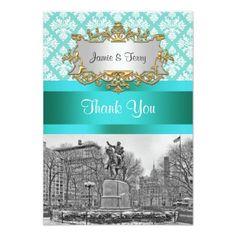 Union Square NYC Aqua White Damask 443 Thank You Invites