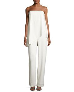 Strapless+Jumpsuit+w/+Asymmetric+Overlay,+Chalk+by+Halston+Heritage+at+Neiman+Marcus.