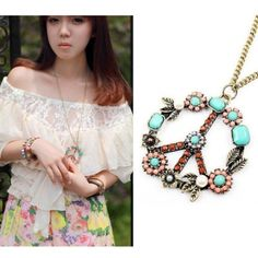 my fave!  1pcs Europestyle Vintage Peace Sign Inserting Colorful Beads Necklace