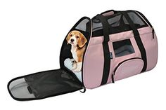 KritterWorld Portable Comfort Soft Sided Airline Approved Pet Travel Carrier Bag for Dog/Cat Small Animals Tote w/ Built-in Collar Buckle & Removable Fleece Bed  Pink