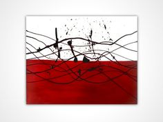 Original abstract painting - Red original painting red - Original oil painting - Original modern art - Red and white art - Splash painting by MattRegtonShop on Etsy, $129.00