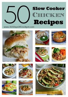 50 Slow Cooker Chicken Recipes from 365 Days of Slow Cooking #crockpot #easydinner #chickenrecipes #slowcooker