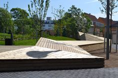 "The community in Copenhagen chose Kebony Scots Pine for its urban public furniture ""Aktive kant"" in the heart of the capital.  Landscape architect: 1:1 Landskab, Stine Schibsbye.  Completed by Urban Elements"