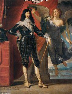 """""""Louis XIII couronné par la Victoire (siège de La Rochelle, 1628)"""", huile sur toile de Philippe De Champaigne (1602-1674, Belgium)"""
