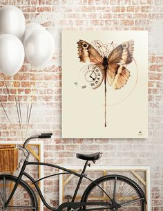 Discover «butterflyclock», Limited Edition Acrylic Glass Print by Hittouch - From 70€ - Curioos