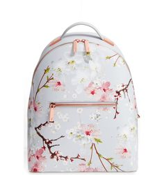 Flower Print Leather Backpack