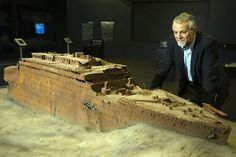 A model of the sunken Titanic ship is on display at the Titanic, the Exhibition traveling show currently at the Paris Expo which runs from June 1 to September 15, 2013. The exhibition features 280 relics from the Titanic and testimonies of survivors who were on board the doomed vessel which hit an iceberg and sunk on April 14, 1912.
