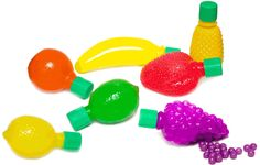 Assorted plastic shaped fruits filled with candy beads, including Pineapple, Banana, Strawberry, Orange, Lime and Lemon. $23.30/72 (incl s&h)