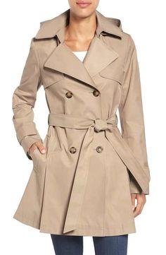2b7da0007c8 Halogen® Detachable Hood Trench Coat (Regular   Petite) Petite Trench Coat