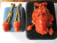 Victorian 14kt Gold Coral Cameo Pin and Earrings Set