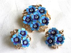 """Vintage Brooch and Earring Set Avon """"Love Blossoms"""" Blue Enamel Flowers With Blue Rhinestone Centers Signed Avon by JanesVintageJewels on Etsy"""