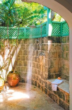 outdoor stone shower private of course :)
