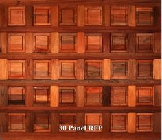 A wooden garage door in 30 Panel RFP style.