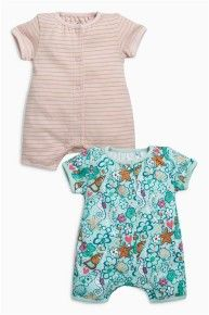 Green/Pink Mermaid Short Leg Rompers Two Pack (0mths-2yrs)