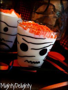 "Mighty Delighty: Whipped Cream ""Mummy"" Cups Halloween Treats"