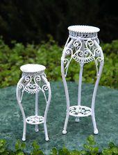 Miniature Dollhouse FAIRY GARDEN Furniture ~ White Wire Plant Stands ~ NEW