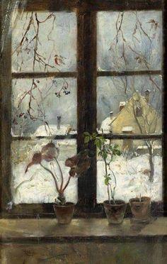 HENRY ALEXANDER Snow Scene through a Winter Window (1870)