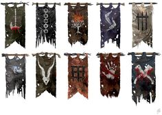 Project: SOI MUD Title: Enemy Orc and Troll Tribe Banners Name of Tribes from top left to bottom right in order. SOI - Orc and Troll Tribe Banners Fantasy World, Fantasy Art, Game Art, Armadura Medieval, Flag Banners, Flags, 3d Prints, Fantasy Weapons, Medieval Fantasy