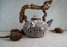 Handmade Ceramic Teapot, Free Shipping, Crack Texture Teapot, Rustic Design, Wood Twig Handle Teapot, Tea Ceremony, Pottery Clay Gift by SevaCeramics on Etsy