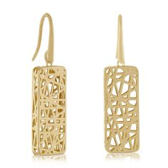 Toscano Rectangle Earrings 14K Italian Style, Hanger, Drop Earrings, Pendant, Jewellery, Collection, Stud Earrings, Accessories, Hangers