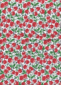 Flannel Fabric, White with Cherries