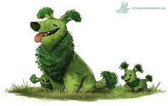 Daily Paint #1234. Broccollie, Piper Thibodeau on ArtStation at https://www.artstation.com/artwork/Jbdo0
