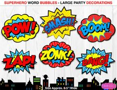 Your place to buy and sell all things handmade Comic Book Bubble, Superhero Cupcake Toppers, Happy Birthday Printable, Superhero Theme Party, Bubble Party, Comic Book Superheroes, Party Signs, As You Like, Photo Booth