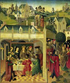 Binnenzijde linker vleugel van een altaarstuk met het huwelijksfeest van de heilige Elisabeth en Lodewijk van Thüringen op de Wartburg, Meester van de Heilige Elisabeth-Panelen, 1490