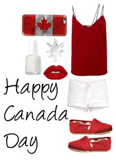 """Canada Day ^_~"" by musie-della ❤ liked on Polyvore featuring Casetify, Hellessy, TOMS, Bling Jewelry, Lime Crime, Essie, proud, redandwhite, canada and DontOwnaPolarBearEither"