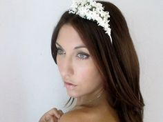 Fairy Wedding Headband, Bridal Hair Flower Crown, Tiara, White Opal Flowers and Pearl, head wreath, Fairy Wedding -