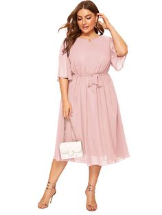 Check out this Plus Solid Tie Waist Dress on Shein and explore more to meet your fashion needs! Maxi Dress With Slit, Wrap Dress Floral, Mesh Dress, Belted Dress, Striped Dress, Dress P, Fancy Dress, Plus Size Dresses, Dresses For Sale