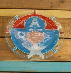 Plato súper héroes Capitan America vitrofusion - Glass fusion - Fusing Medida: 24 cm   - Espesor: 6mm - Handmade