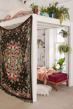 Create a corner sanctuary with indoor plants, and tapestry as privacy divider ♥