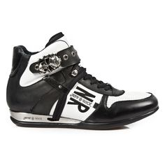 Black & White Leather Hybrid Hi-top Shoes w Skull Buckle *May take up to 45 - 50 Days to Receive*-Quality Black & White leather Hi-top dress sneakers from New Rock Shoes. Lacing up the front, Skull buckle on the top to adjust for comfort. Metal o Dress With Sneakers, Top Shoes, White Leather, Ships, Skull, Lace Up, Unisex, Rock, Black And White