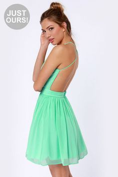 LULUS Just Dance Backless Mint Green Lace Dress... WANT!!