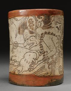 A MAYA PAINTED CYLINDER VESSEL,  LATE CLASSIC, CA. A.D. 550-950