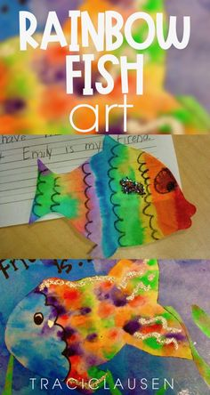 This rainbow fish craft is so easy and beautiful. I pair it with an opinion writing lesson on friendship and the powers of being a good friend. Rainbow Fish Activities, Rainbow Fish Crafts, Rainbow Art, Sight Word Activities, Classroom Activities, Primary Classroom, Classroom Ideas, Kindergarten Art Lessons, Ocean Themes