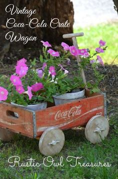 Vintage Coca-Cola crate Wagon ~ this is such a lovely vintage crate upcycle!