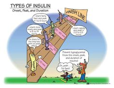 Easy way for new nurses and nursing school students to remember insulin peaks!