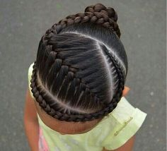 """Another tight braids style. I did a French braid with a cornrow into a…"" ""Another tight braids styl Lil Girl Hairstyles, Natural Hairstyles For Kids, Kids Braided Hairstyles, Girl Haircuts, Teenage Hairstyles, Bob Haircuts, Wedding Hairstyles, Braids For Kids, Girls Braids"